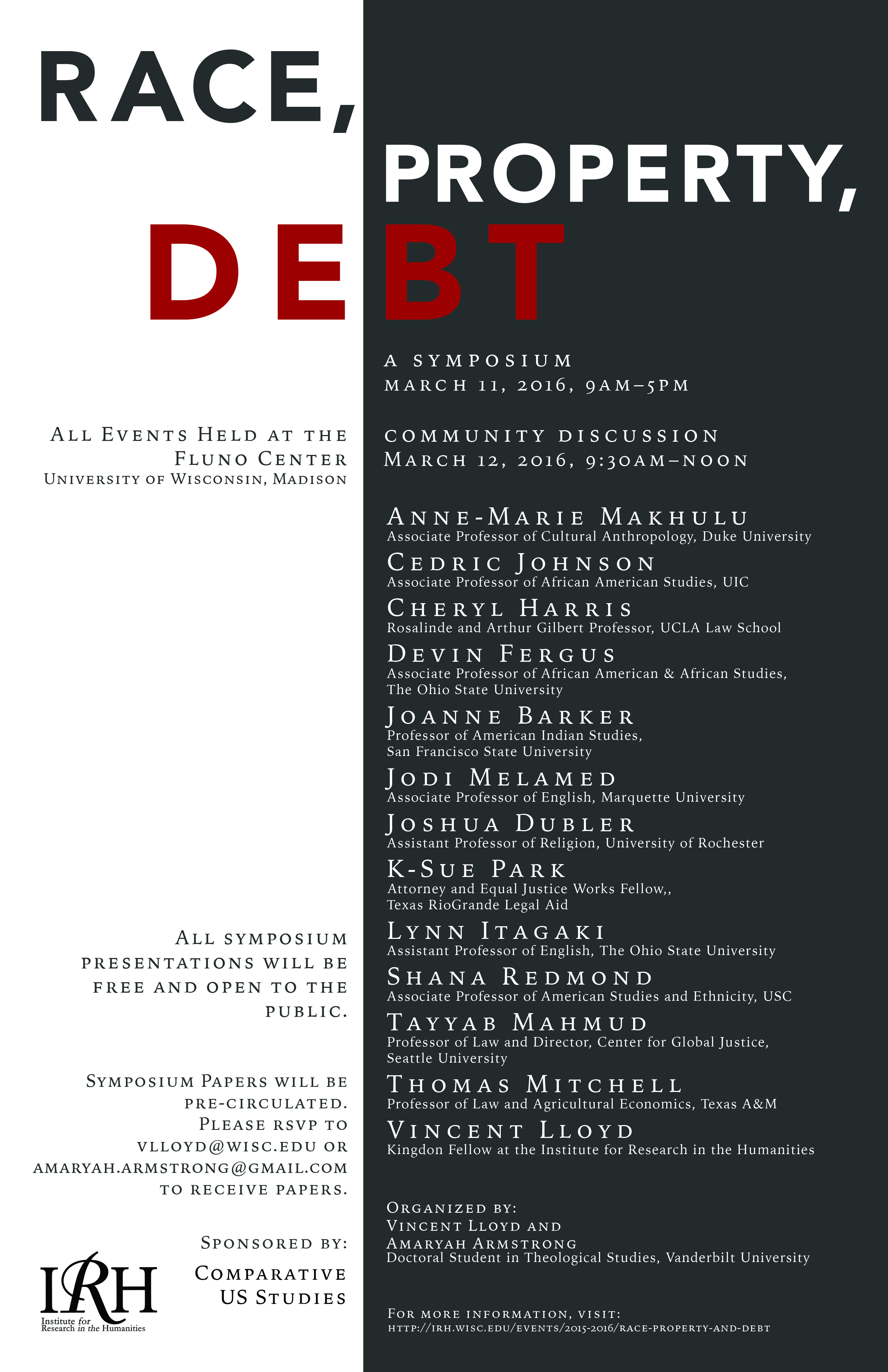 Poster for Event Race, Property, Debt with all speaker names and associations